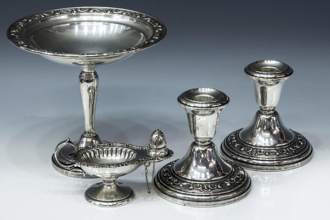 (4) GORHAM WEIGHTED SILVER COMPOTE & CANDLESTICKS