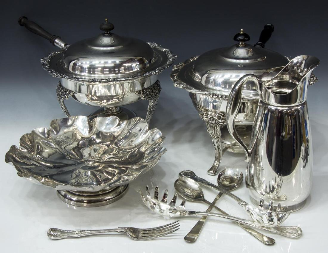 (9) GROUP OF SILVERPLATE TABLEWARE, CHAFING DISHES