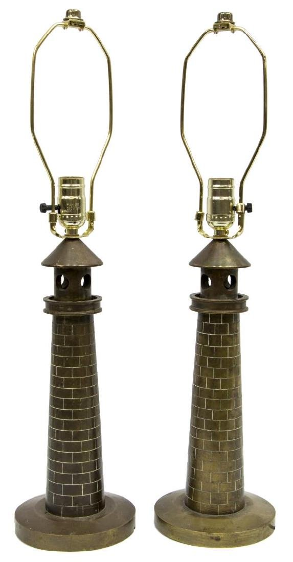 (PAIR) BRONZE LIGHTHOUSE FORM TABLE LAMPS