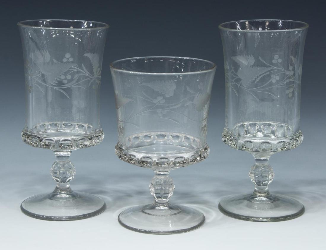 (3) EAPG DAKOTA ETCHED GLASS SPOONERS & GOBLET