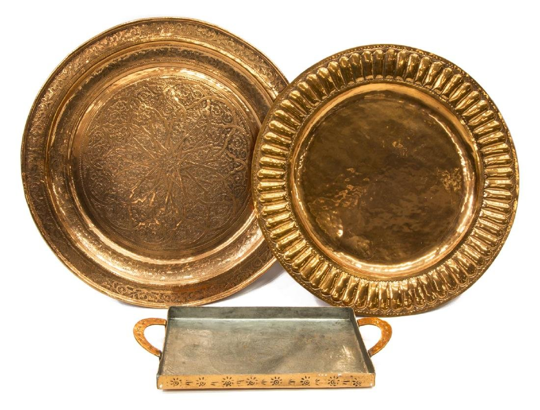 (3) COLLECTION LARGE INCISED COPPER WALL CHARGERS