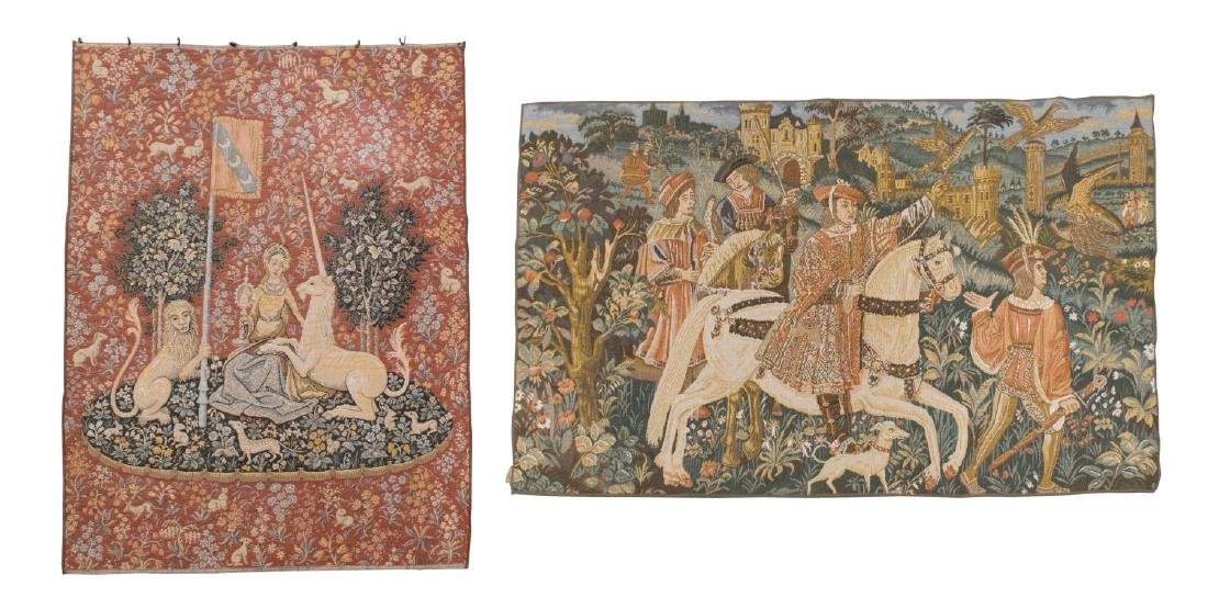 (2) WALL HANGING TAPESTRIES, LADY & THE UNICORN