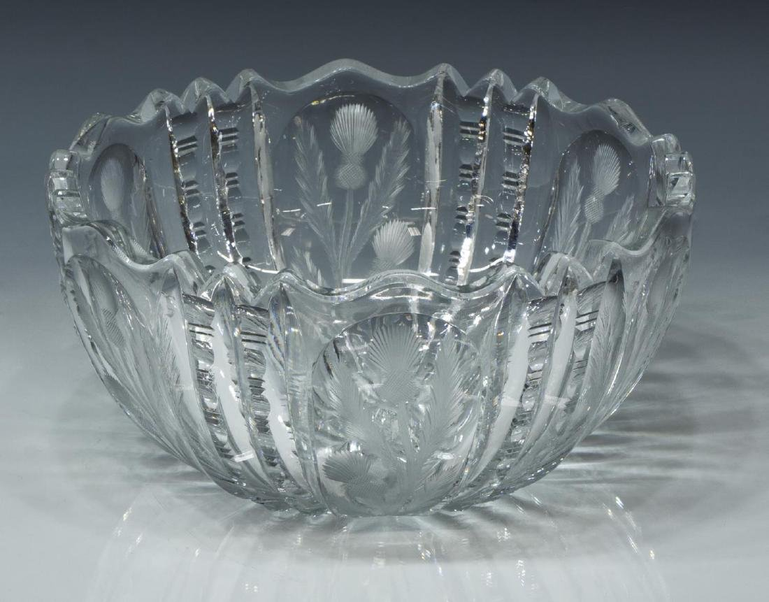 CUT CRYSTAL BOWL, ETCHED SCOTTISH THISTLE PANEL