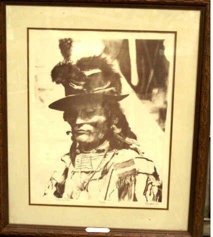 342: ORIGINAL LITHOGRAPH ARTIS SIGNED AMERICAN INDIAN