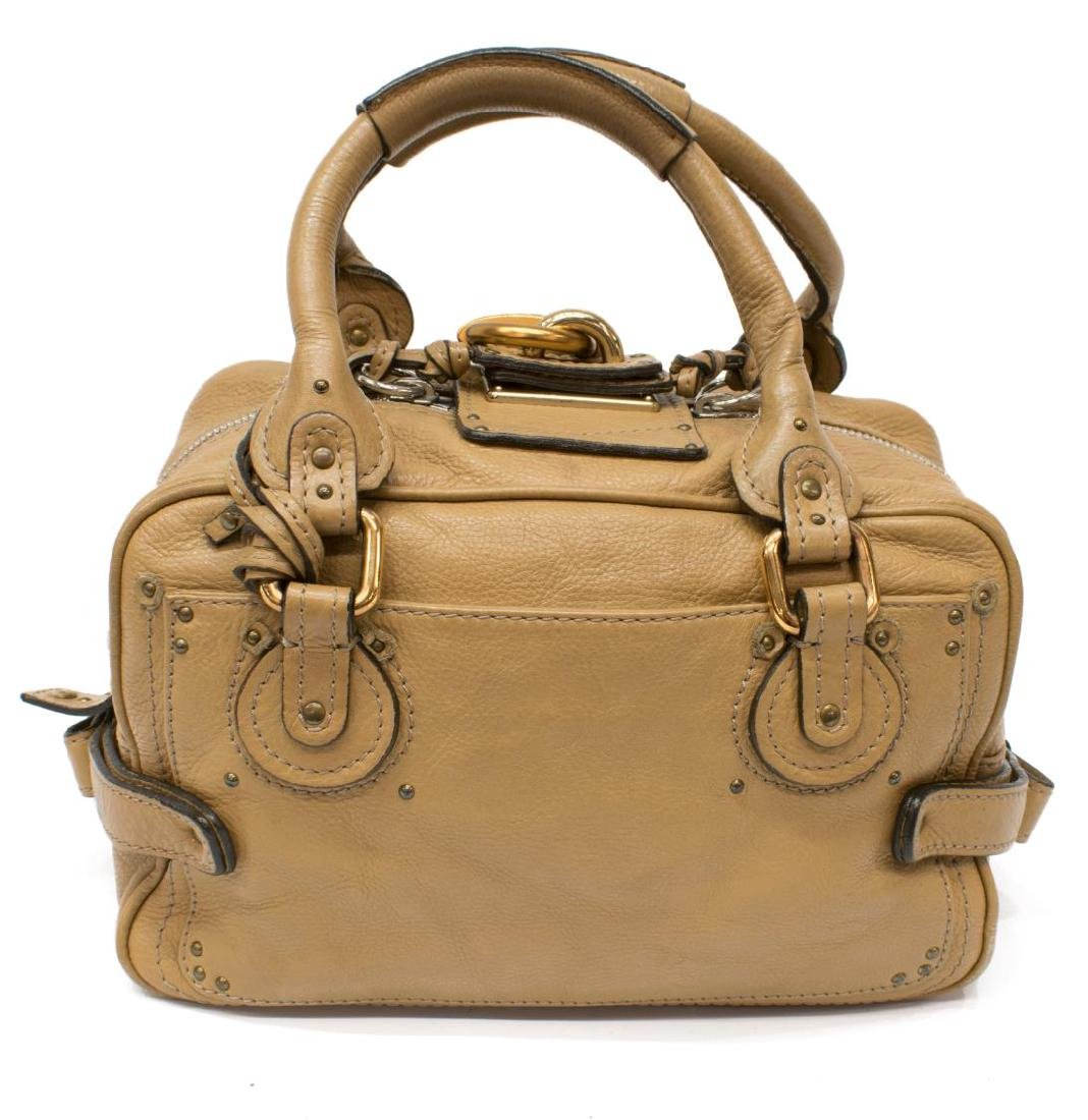 CHLOE 'PADDINGTON' BEIGE GRAINED LEATHER HANDBAG