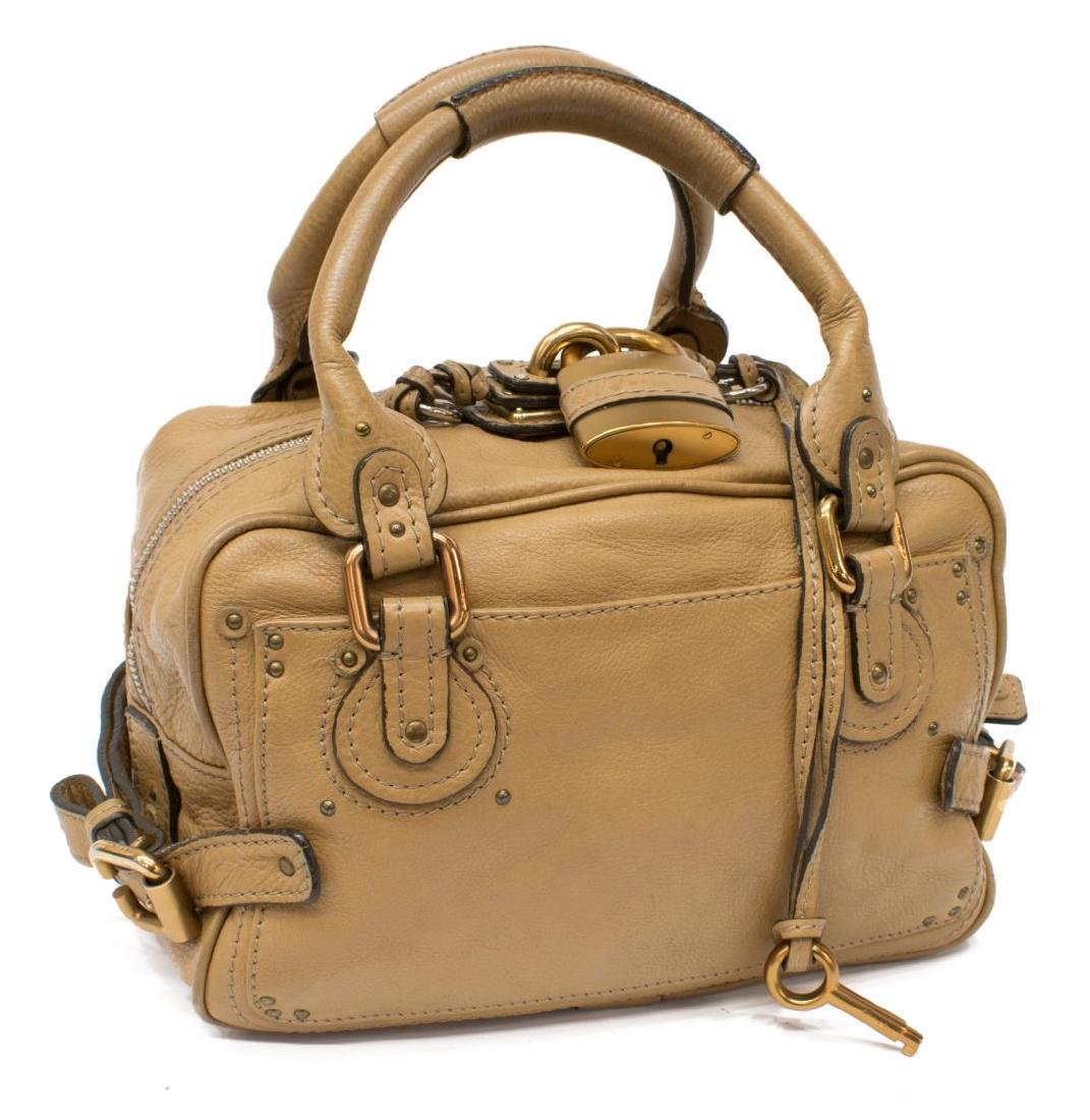 CHLOE 'PADDINGTON' BEIGE GRAINED LEATHER HANDBAG - 2