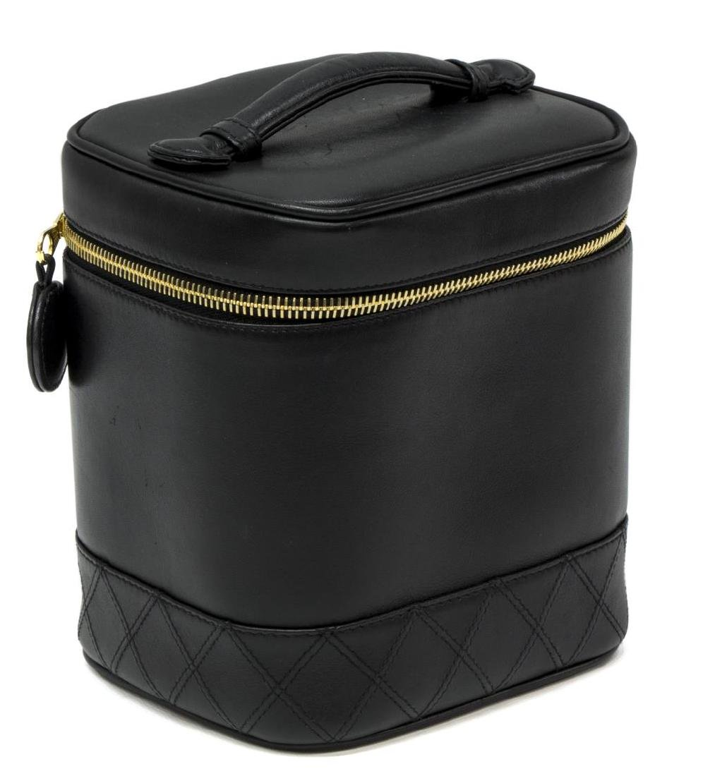 CHANEL BLACK QUILTED LEATHER VANITY COSMETIC CASE