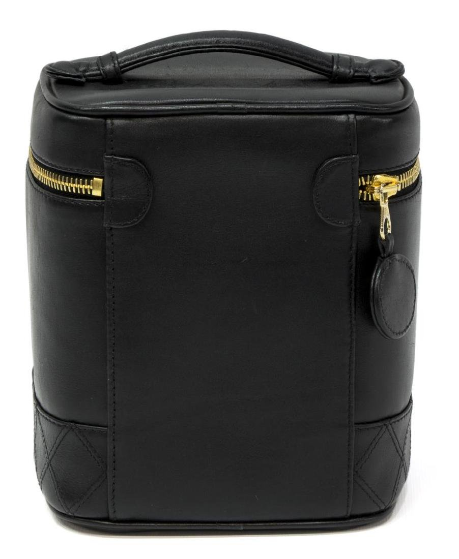 CHANEL BLACK QUILTED LEATHER VANITY COSMETIC CASE - 2