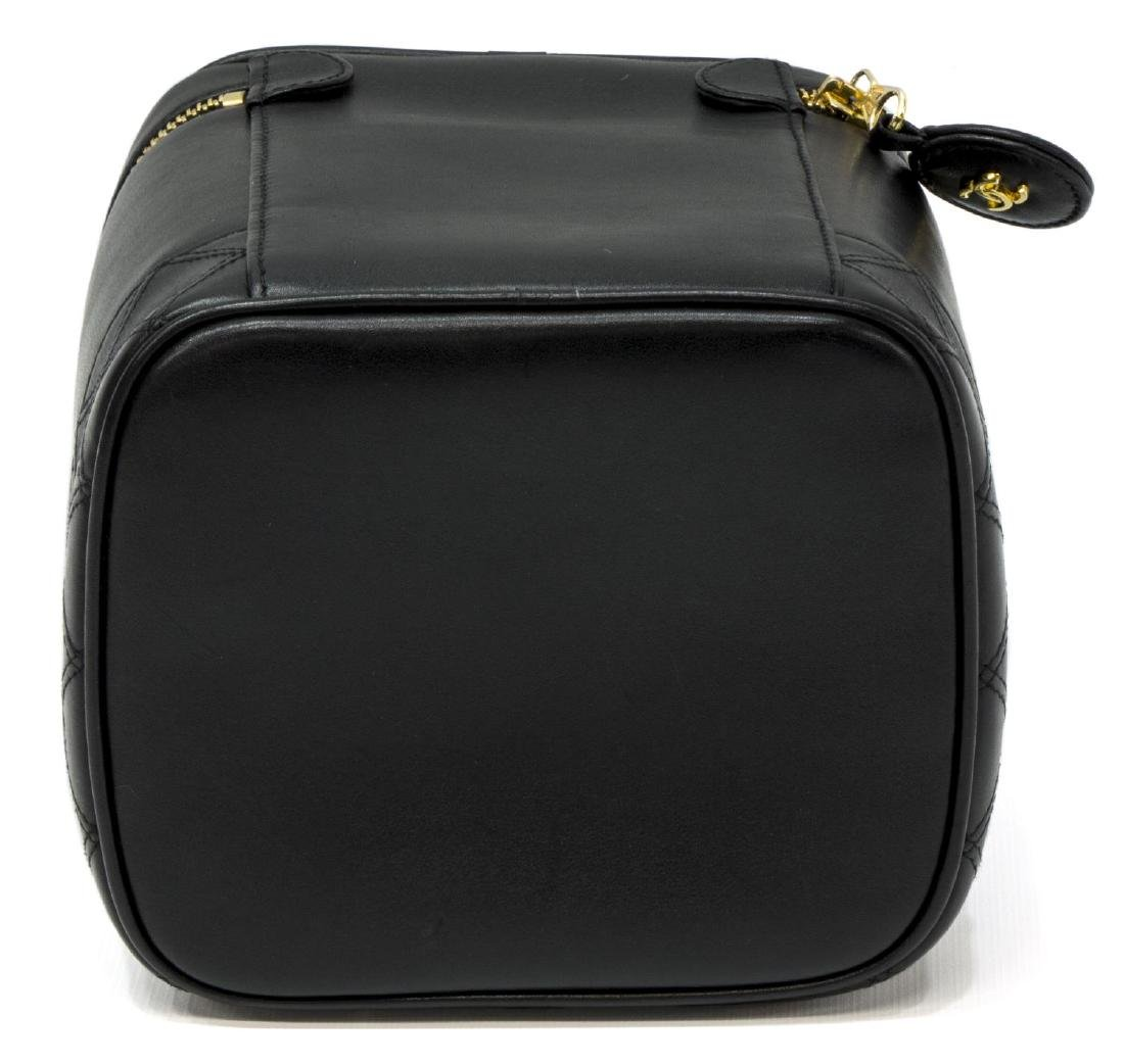 CHANEL BLACK QUILTED LEATHER VANITY COSMETIC CASE - 3