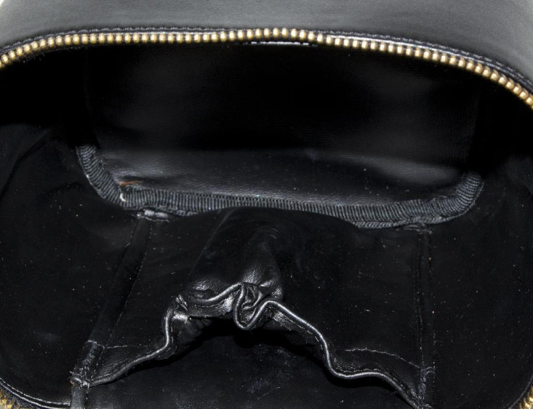 CHANEL BLACK QUILTED LEATHER VANITY COSMETIC CASE - 4