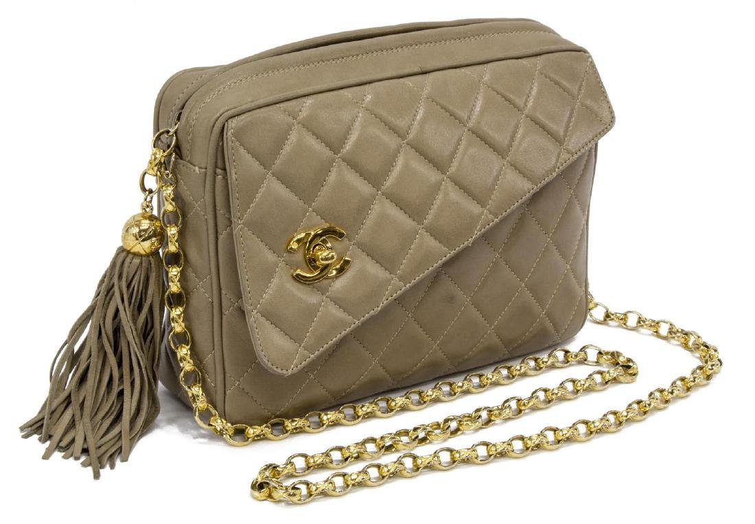 """CHANEL """"CAMERA"""" QUILTED LEATHER TASSEL BAG"""