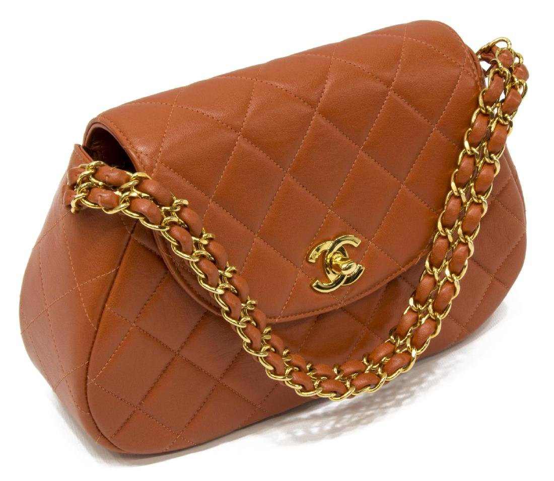 CHANEL 'CLASSIC FLAP' ORANGE LEATHER HANDBAG