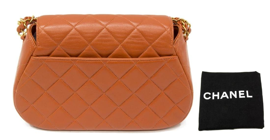 CHANEL 'CLASSIC FLAP' ORANGE LEATHER HANDBAG - 2