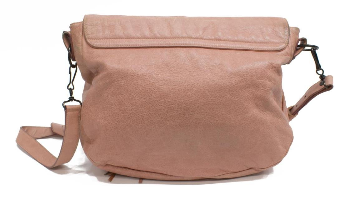 BALENCIAGA 'FOLK' PINK ARENA LEATHER MESSENGER BAG - 2