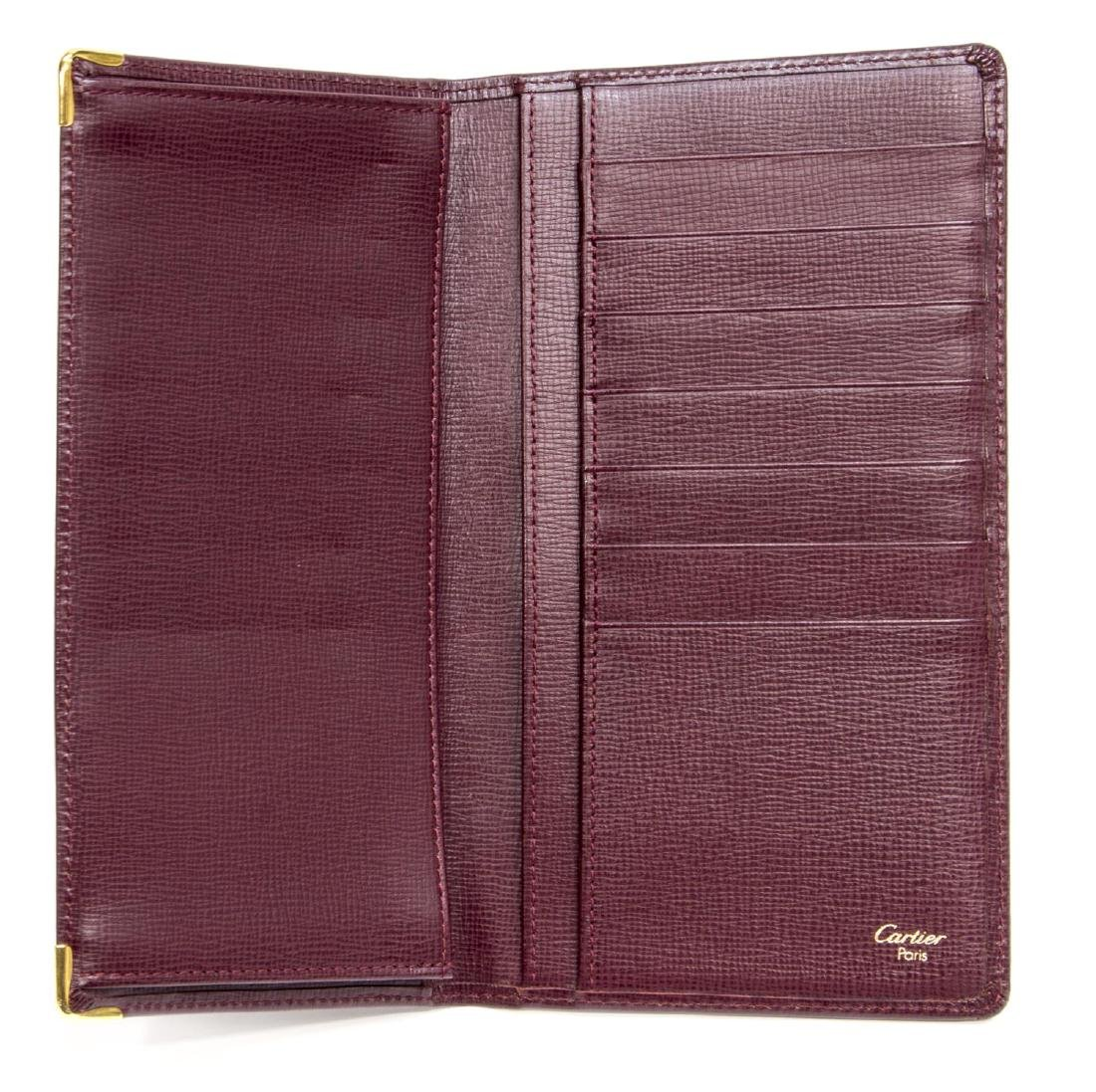 CARTIER BURGUNDY LEATHER LONG WALLET - 4