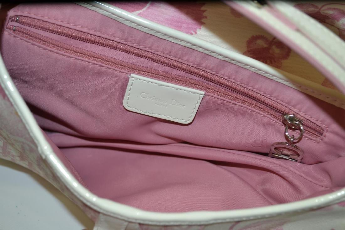 CHRISTIAN DIOR PINK & WHITE FLORAL SADDLE BAG - 4