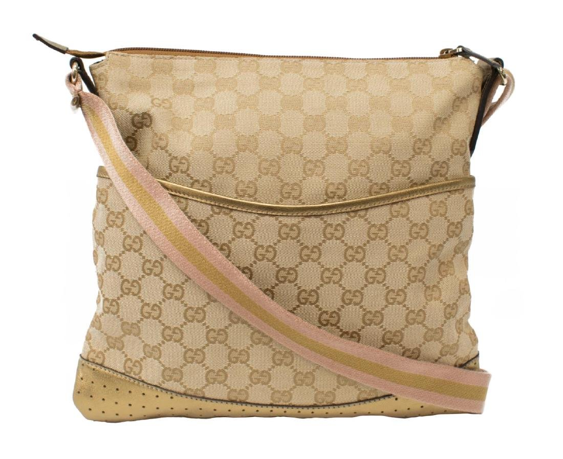 GUCCI GG MONOGRAM CANVAS MESSENGER BAG