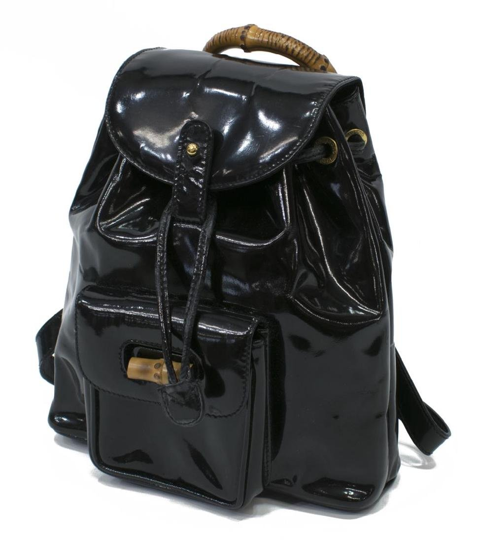 GUCCI BLACK PATENT LEATHER MINI BAMBOO BACKPACK