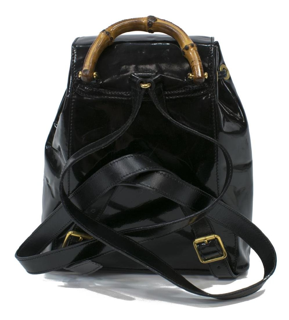 GUCCI BLACK PATENT LEATHER MINI BAMBOO BACKPACK - 2
