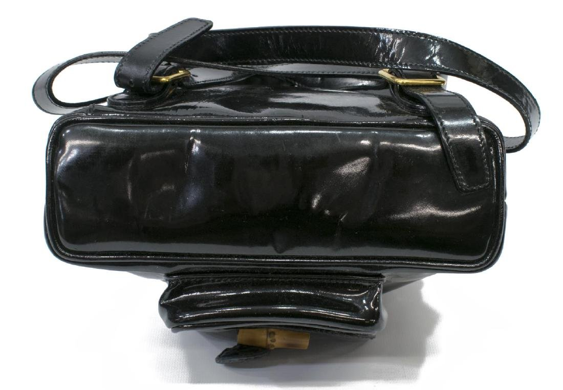 GUCCI BLACK PATENT LEATHER MINI BAMBOO BACKPACK - 3