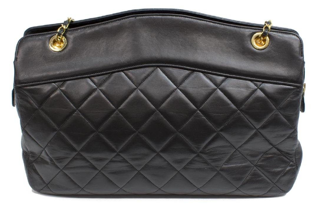 VINTAGE CHANEL BLACK QUILTED LEATHER SHOULDER BAG - 2