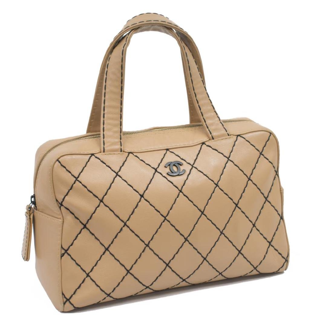 CHANEL WILD STITCH QUILTED LEATHER SATCHEL BAG