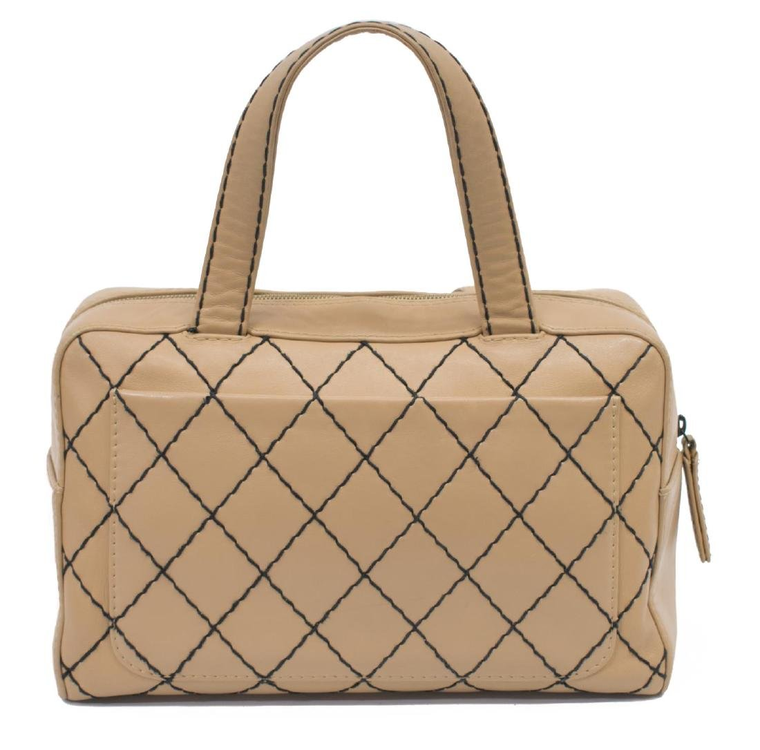 CHANEL WILD STITCH QUILTED LEATHER SATCHEL BAG - 2