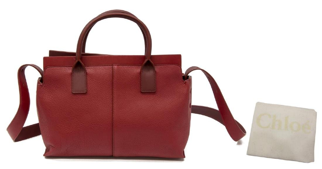 CHLOE RED GRAINED LEATHER CROSSBODY HANDBAG - 2