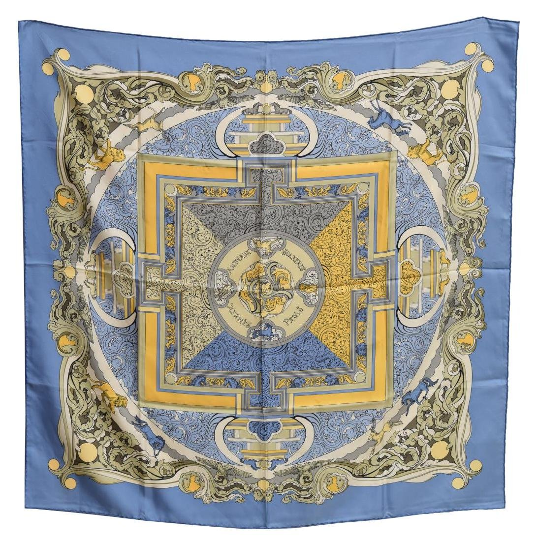 HERMES SILK TWILL SCARF, 'ANIMAUX SOLAIRES'