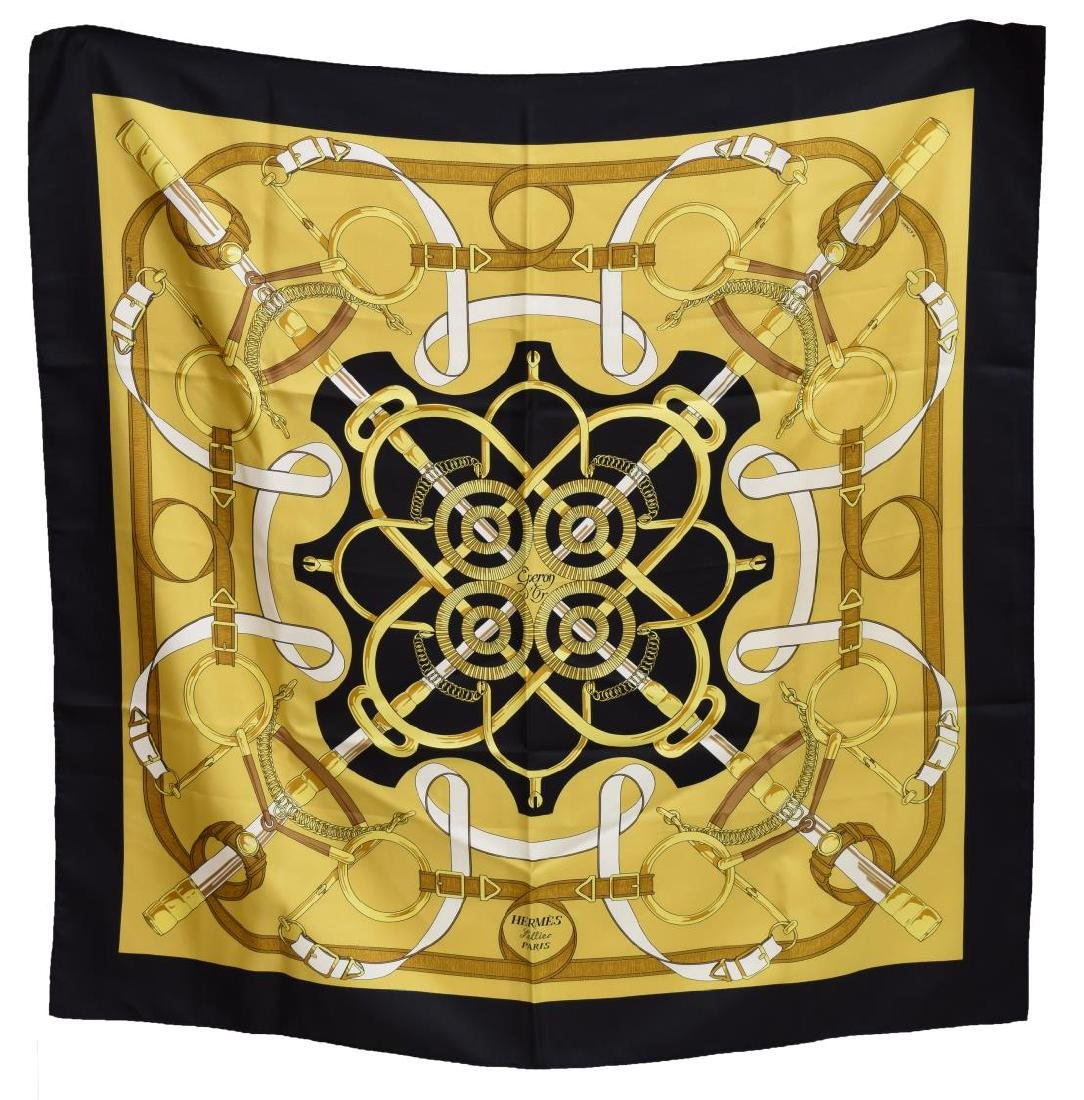 HERMES SILK TWILL SCARF, 'EPERON D'OR' PATTERN