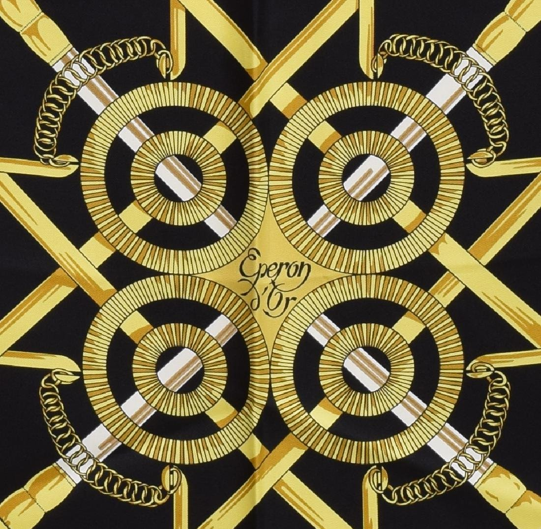 HERMES SILK TWILL SCARF, 'EPERON D'OR' PATTERN - 2