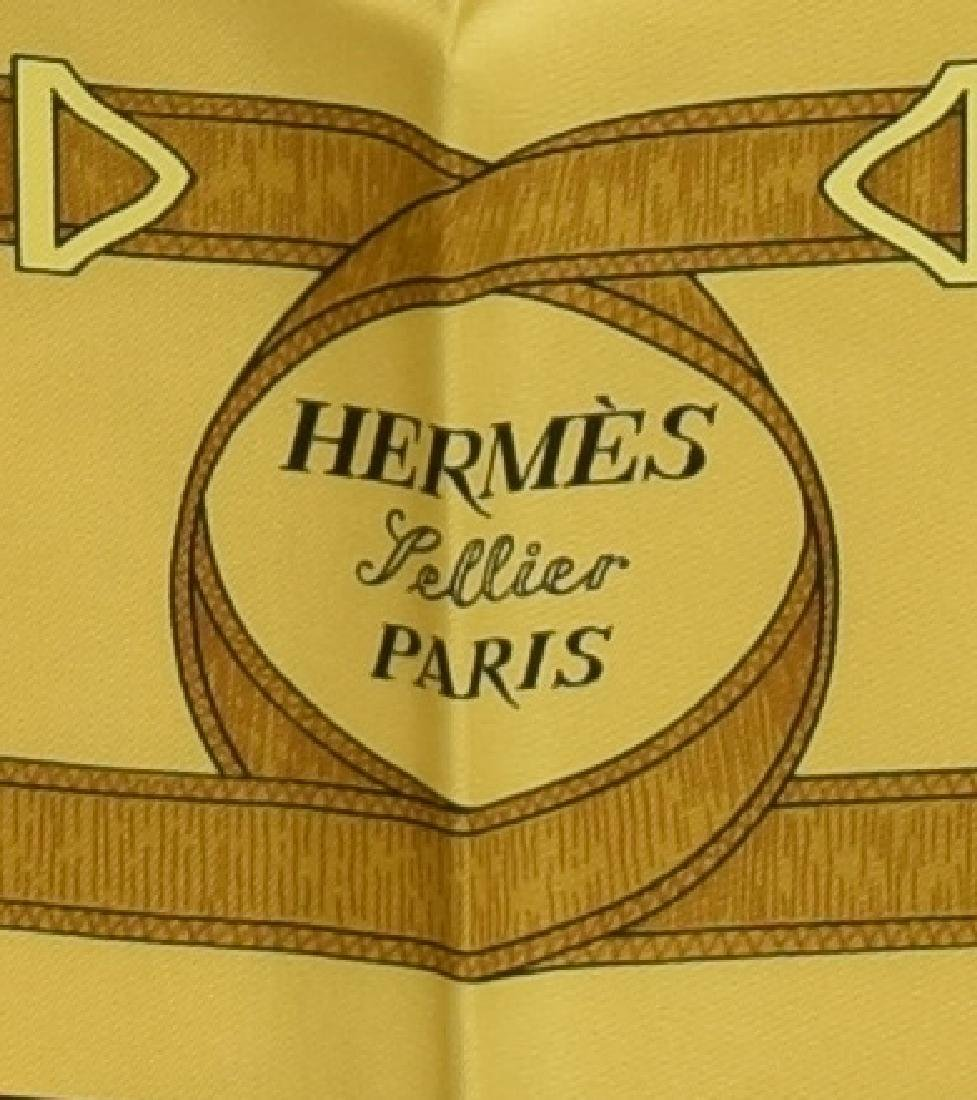 HERMES SILK TWILL SCARF, 'EPERON D'OR' PATTERN - 4