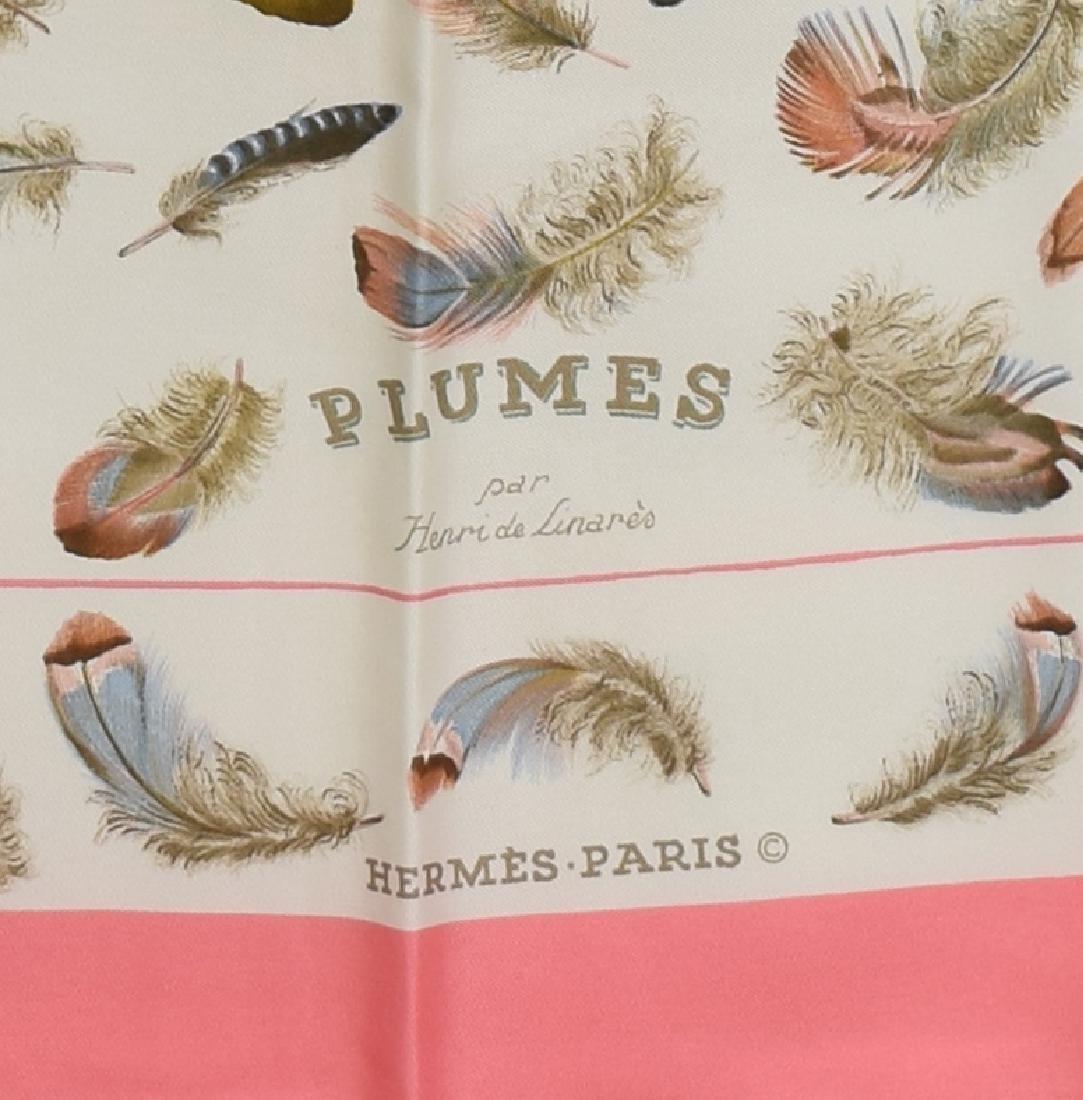 HERMES SILK TWILL SCARF, 'PLUMES' PATTERN - 2