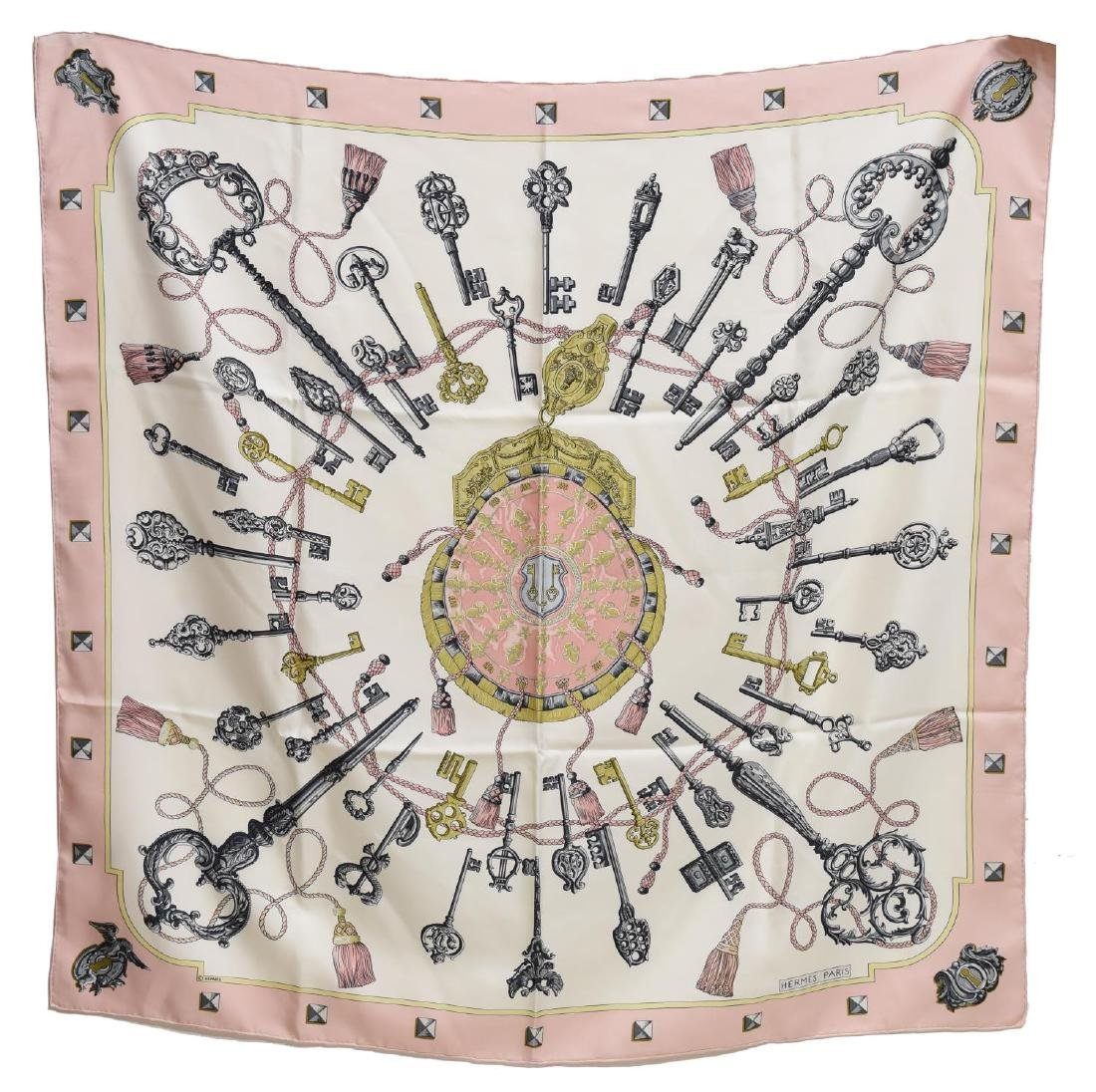 HERMES SILK TWILL SCARF, 'LES CLES' PATTERN