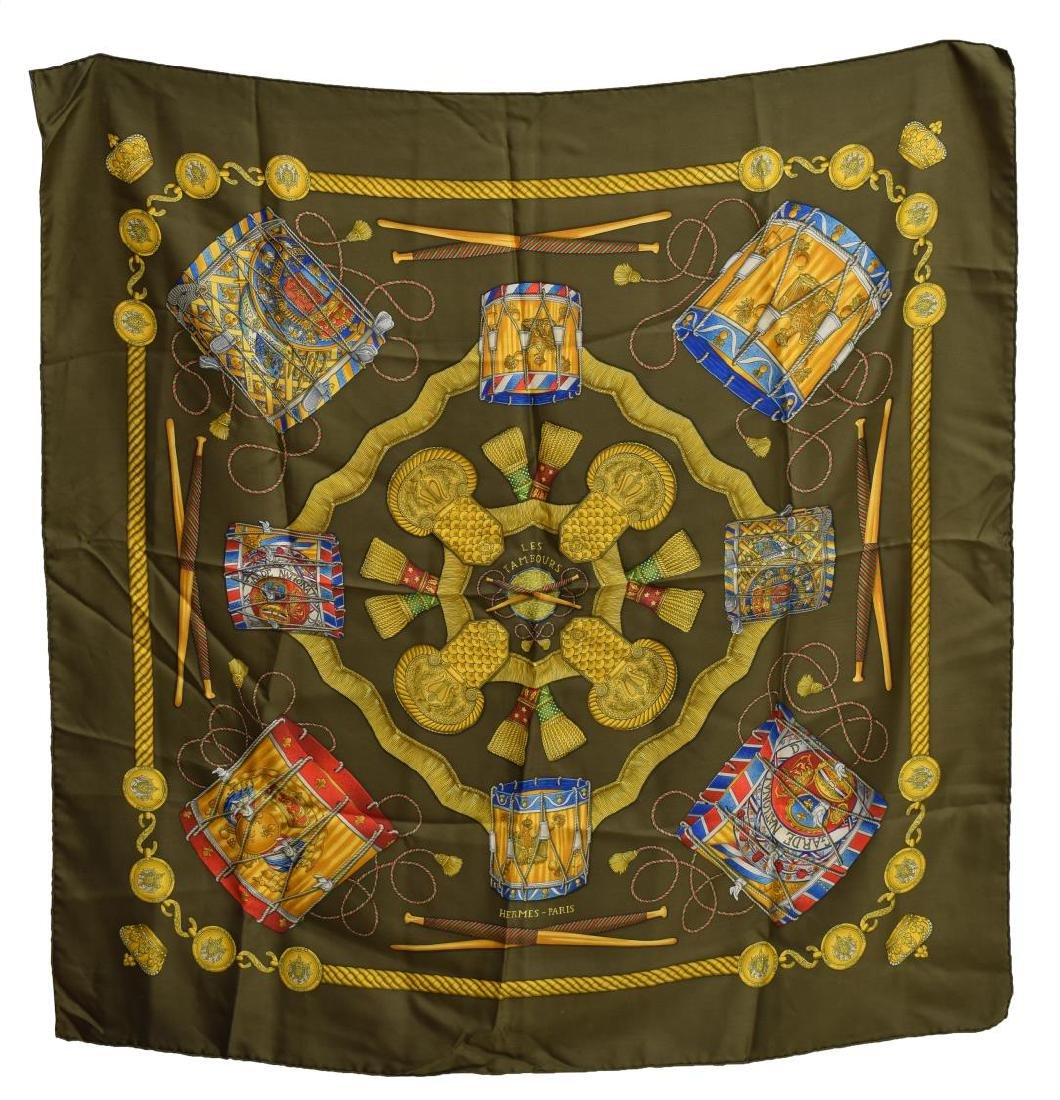 HERMES SILK TWILL SCARF, 'LES TAMBOURS' PATTERNS