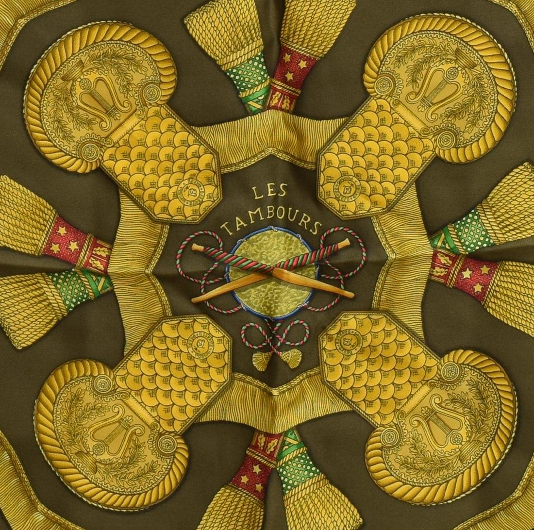 HERMES SILK TWILL SCARF, 'LES TAMBOURS' PATTERNS - 2