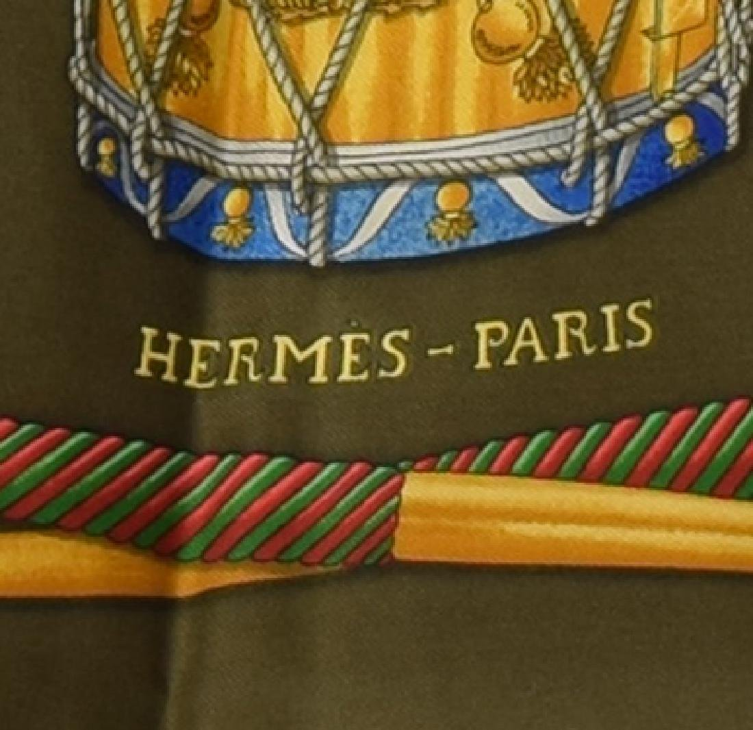HERMES SILK TWILL SCARF, 'LES TAMBOURS' PATTERNS - 3
