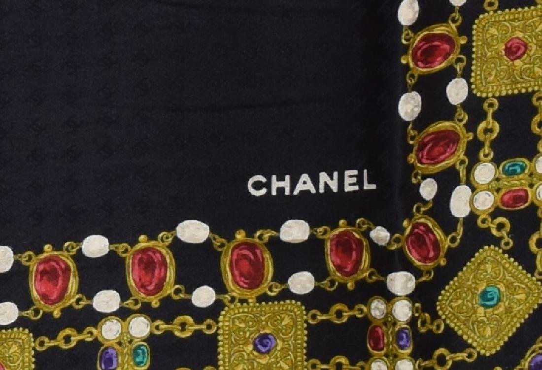 CHANEL SILK SCARF WITH GEM STONE NECKLACE PRINT - 2