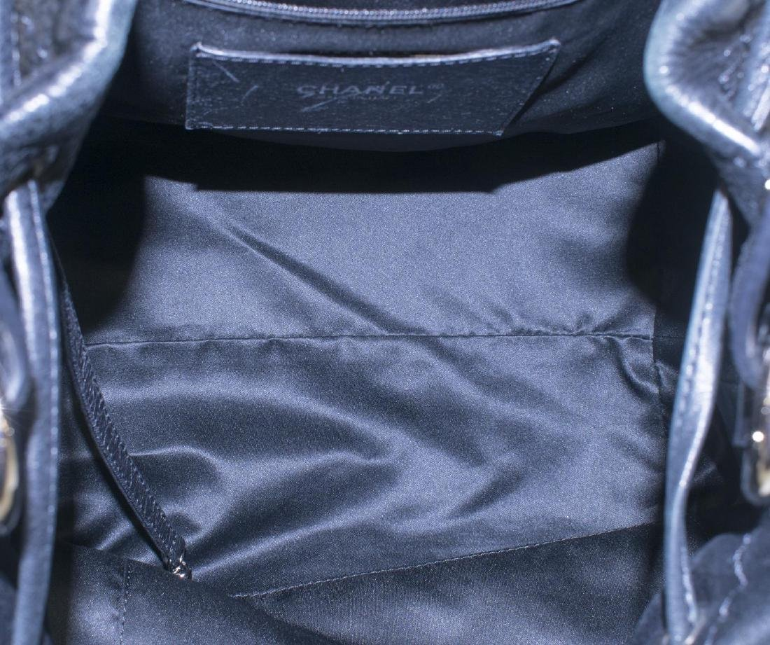 CHANEL QUILTED BLACK LEATHER DRAWSTRING BAG - 4