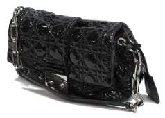 CHRISTIAN DIOR BLACK CANNAGE NEW LOCK FLAP BAG