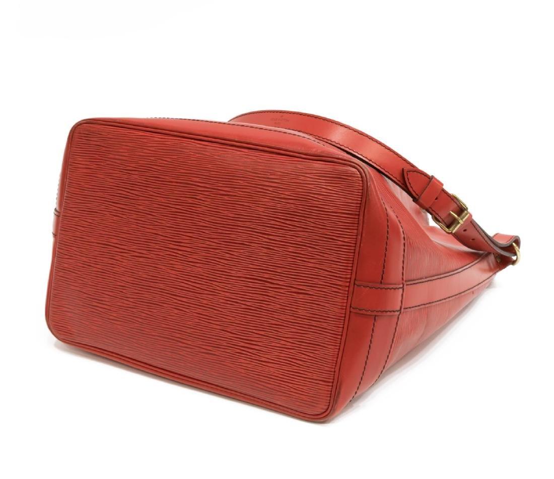 LOUIS VUITTON 'NOE' RED EPI LEATHER BUCKET BAG - 3