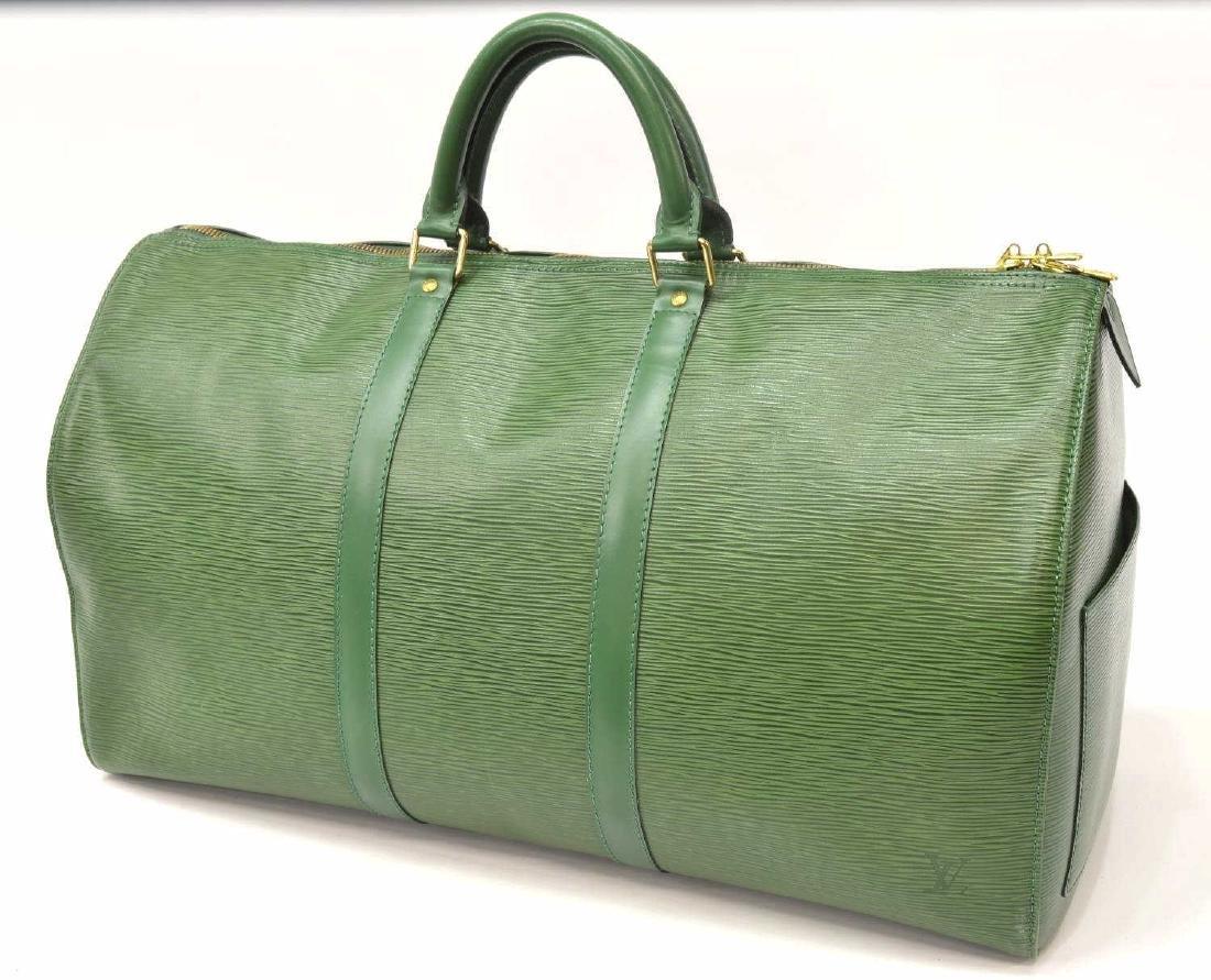LOUIS VUITTON 'KEEPALL 50' GREEN EPI DUFFLE BAG