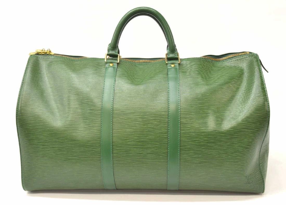 LOUIS VUITTON 'KEEPALL 50' GREEN EPI DUFFLE BAG - 2