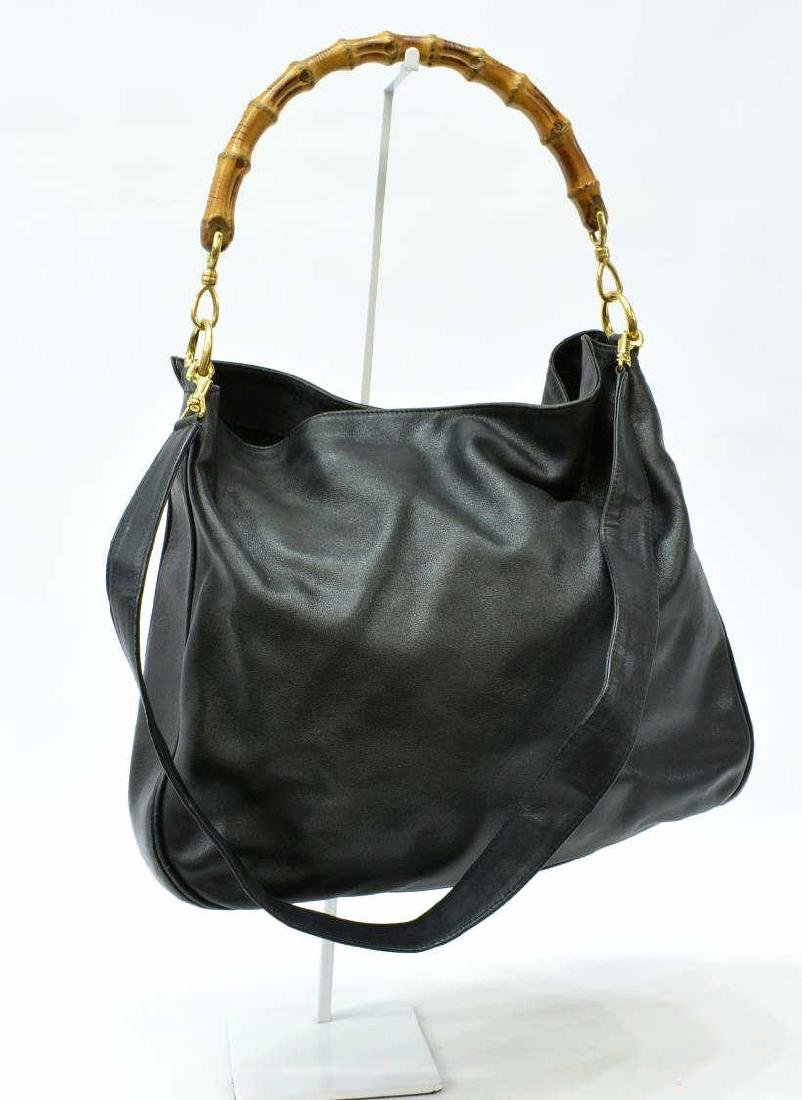 GUCCI BLACK LEATHER SATCHEL WITH BAMBOO HANDLE