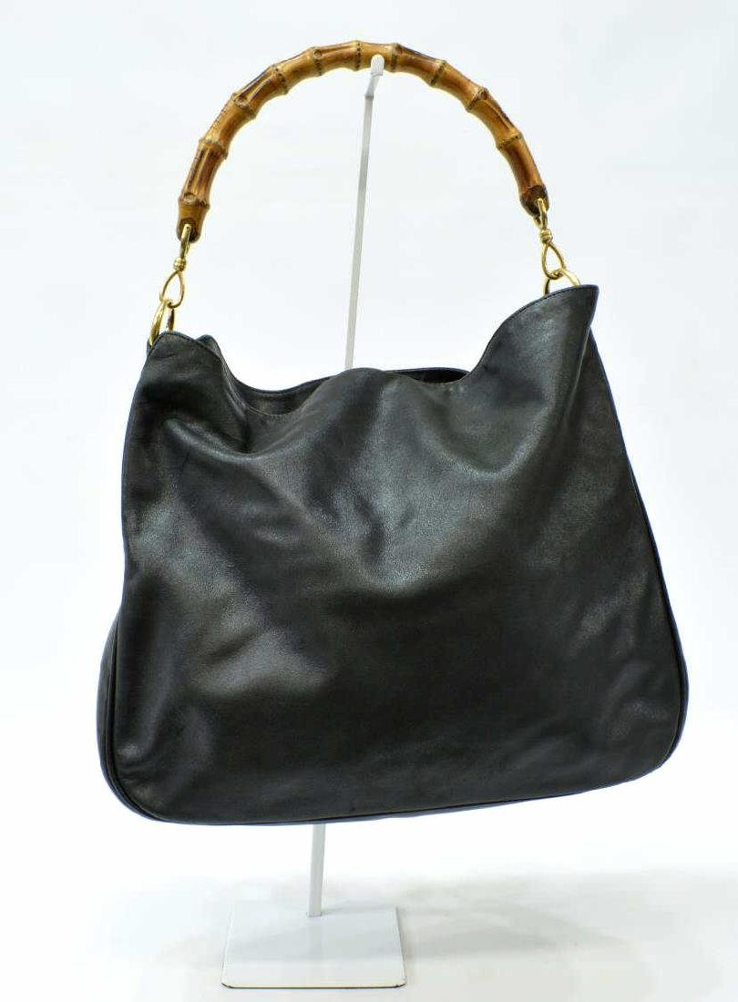 GUCCI BLACK LEATHER SATCHEL WITH BAMBOO HANDLE - 2