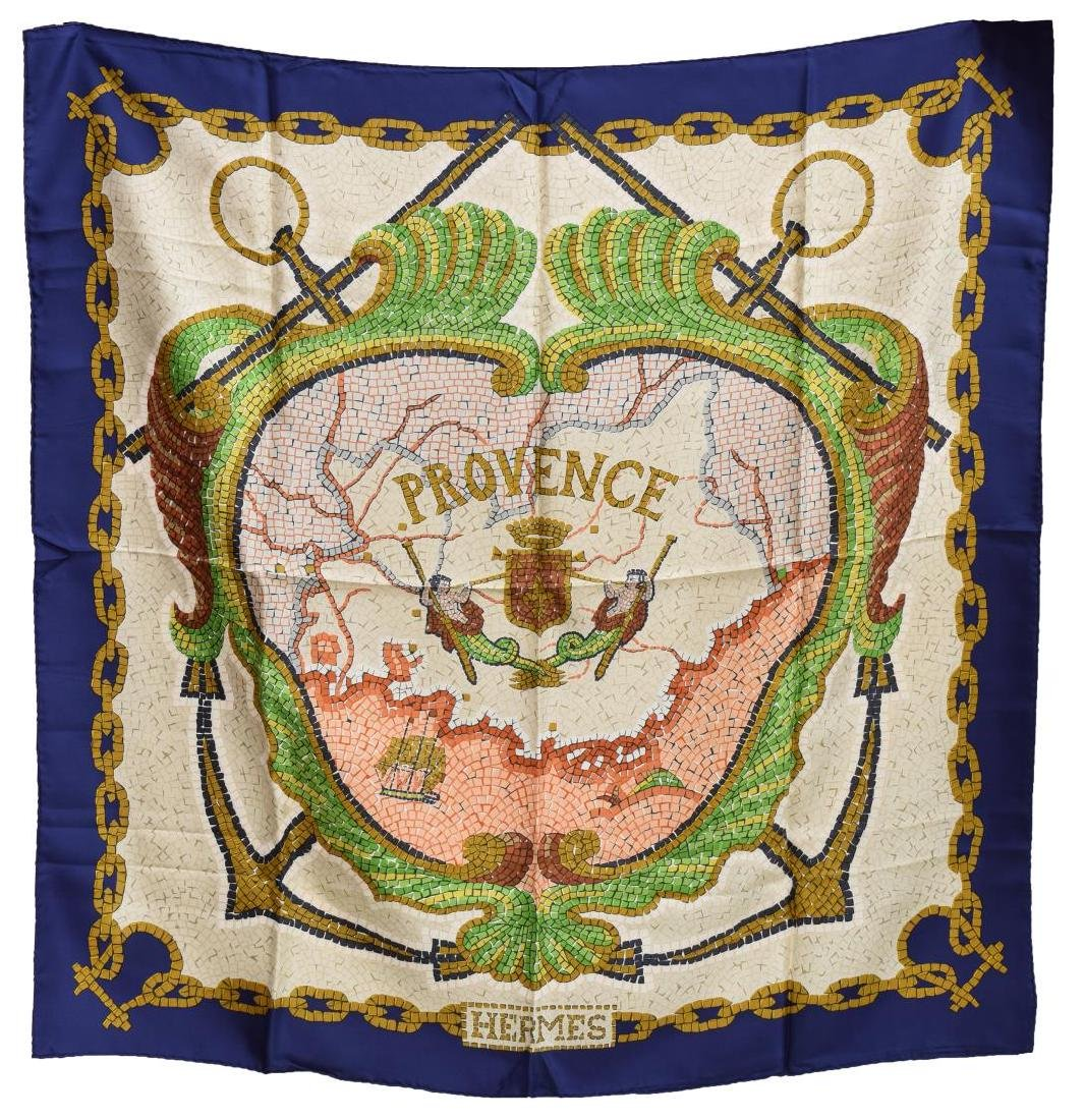 HERMES SILK TWILL SCARF, 'PROVENCE' PATTERN