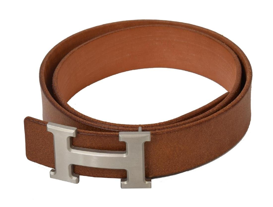 HERMES SILVER 'H' BUCKLE BROWN LEATHER BELT