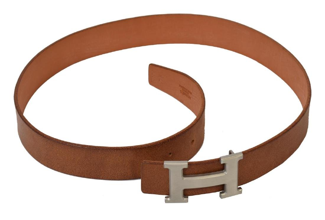 HERMES SILVER 'H' BUCKLE BROWN LEATHER BELT - 2