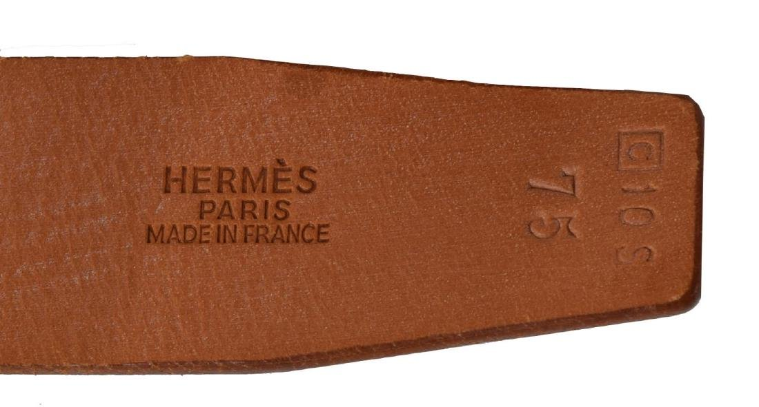 HERMES SILVER 'H' BUCKLE BROWN LEATHER BELT - 3
