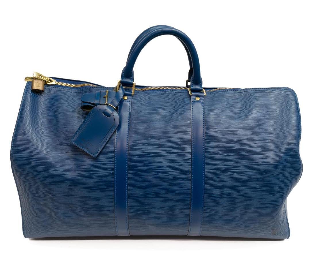 LOUIS VUITTON 'KEEPALL' BLUE EPI LEATHER DUFFLE